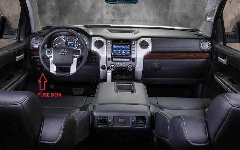 interior fuse box location and information toyota tundra forum the fuse box is located under the drives side footwell area you will have to get on your back on the floor and look up no need to remove any dash